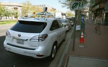 Google's Lexus RX 450H Self-Driving Car - parked in Washington, DC in April 2014