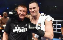 Joseph Parker (R) with trainer Kevin Barry
