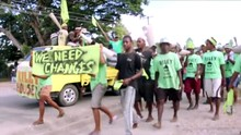 Voters take to the streets in Solomon Islands.