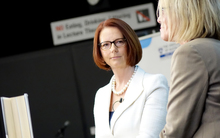 Julia Gillard speaks at the University of Auckland.