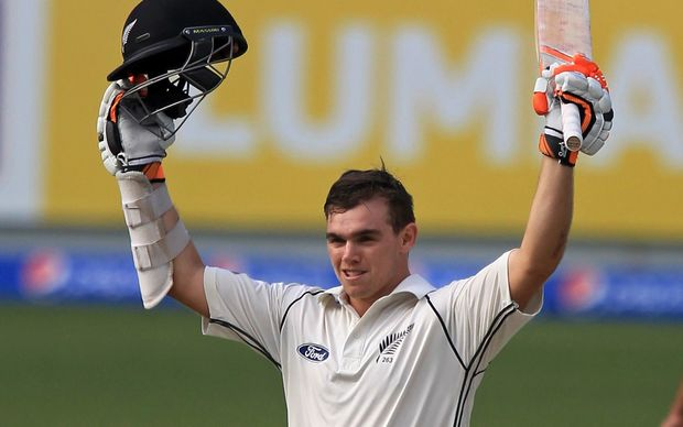 New Zealand cricketer Tom Latham celebrates his century in second test against Pakistan in Dubai 2014.
