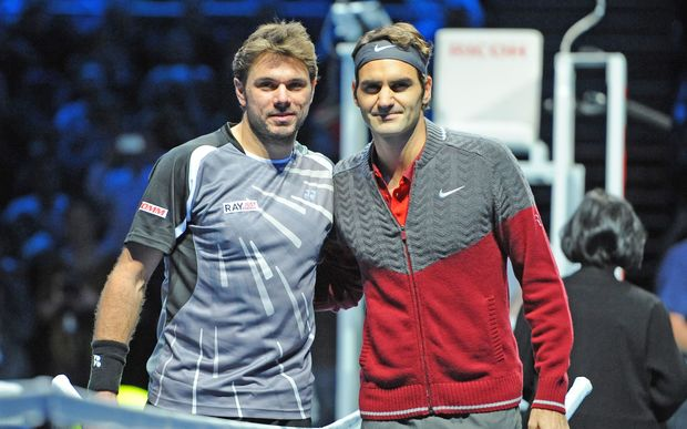 Swiss tennis players Stanislas Wawrinka and Roger Federer at the 2014 ATP World Tour Finals.