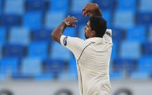 The New Zealand spin bowler Ish Sodhi in action against Pakistan 2014.