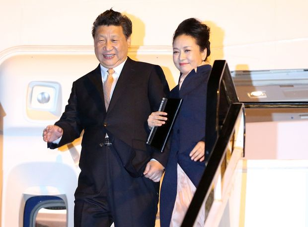 Chinese President Xi Jinping and wife Peng Liyuan arrived in Auckland last night.