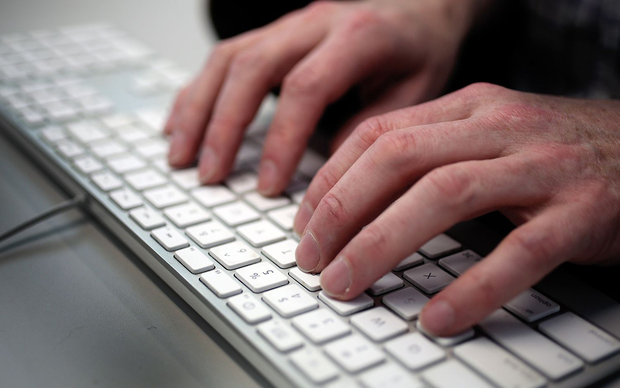 Hands on keyboard. Cyber crime.