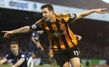 Hull City player celebrates.