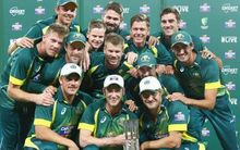 The Australia team celebrate a 4-1 ODI series win against South Africa at the Sydney Cricket Ground. 23 November 2014