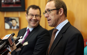 Labour Leader Andrew Little announcing Labours new caucus.(LR) Grant Robertson and Andrew Little.