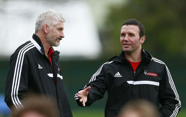 Crusaders coaches Todd Blackadder and Aaron Mauger.
