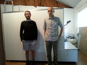 A photo of Matt Miller and Paul Macdermid in front of the water treadmill
