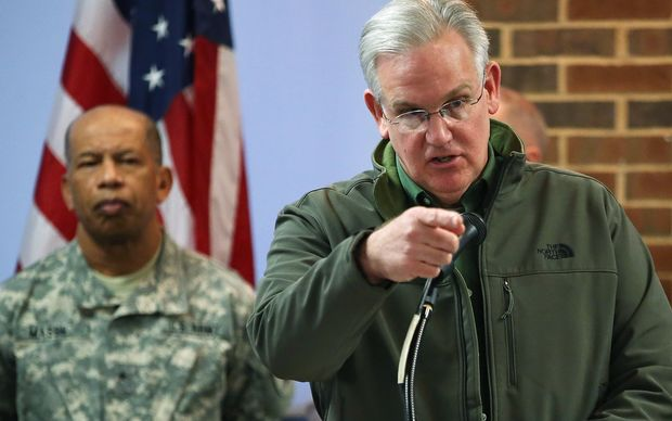 Missouri Governor Jay Nixon speaks during a news conference at the University of Missouri - St. Louis.