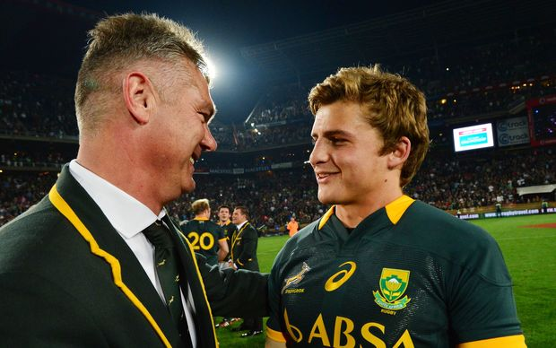 Coach Heyneke Meyer with Pat Lambie after the win over the All Blacks at Ellis Park in October