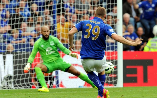 Chris Wood scores against Everton in August