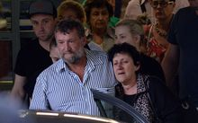Greg and Virginia Hughes, parents of Australian cricketer Phil Hughes, leave the hospital after his death.