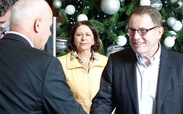 John Banks, right, with supporters John Boscawen and Michelle Boag.