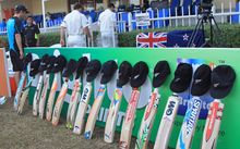 Pakistan vs New Zealand, 28 November 2014 .NZ players bats and caps in tribute of Australia batsman Phillip Hughes on the second day of third test in Sharjah.