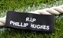 Phillip Hughes tribute black armband.