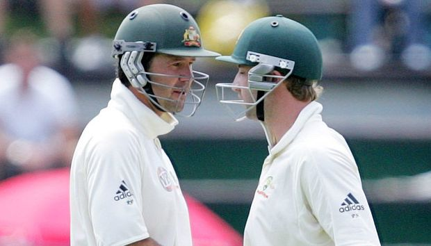 Ricky Ponting congratulates Phillip Hughes on his century, South Africa, 2009