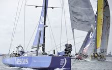 Team Vestas Wind at the start of the race.