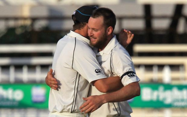 Blackcaps celebrate winning the third test against Pakistan in Sharjah. 
