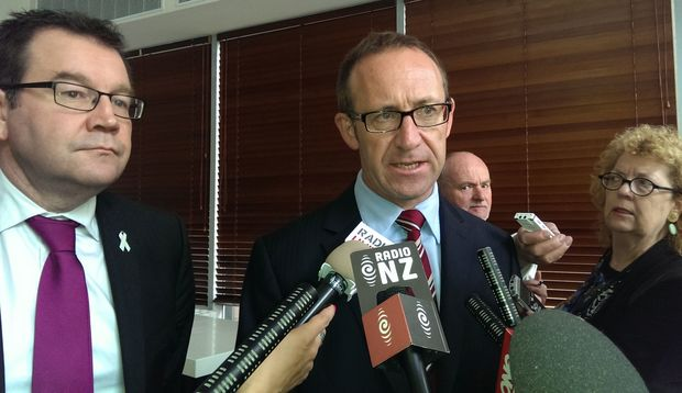 Andrew Little and Grant Robertson after the Labour leader's speech this morning.