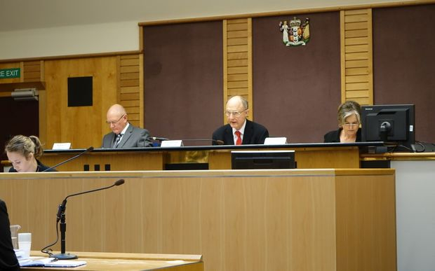 Tribunal members from left to right Brian Neeson, Roger Haines QC (chair) and Wendy Gilchrist.