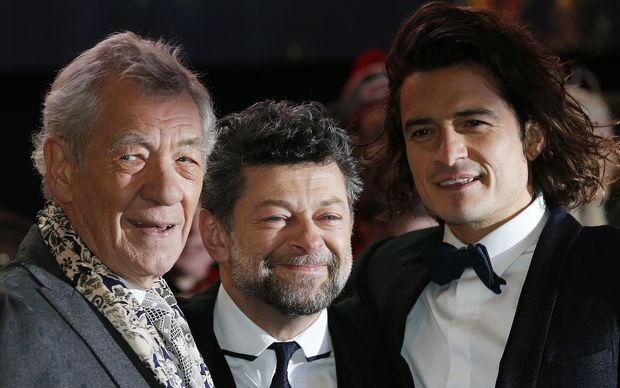 "Cast members Ian McKellen (left) and Orlando Bloom with second unit director Andy Serkis (centre) arriving at the world premiere of ""The Hobbit."