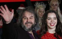 "Sir Peter Jackson with his daughter Katie Jackson as they arrive at the premiere of ""The Hobbit: The Battle of the Five Armies."