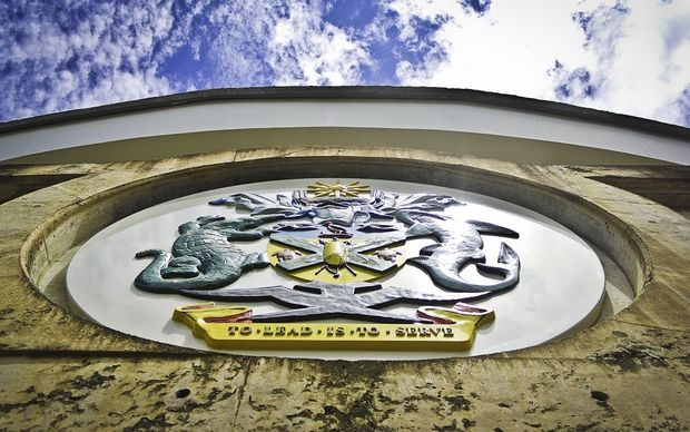 Solomon Islands coat of arms on Parliament buildings in Honiara