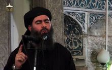 An image purportedly showing Islamic State leader Abu Bakr al-Baghdadi in the northern Iraqi city of Mosul.