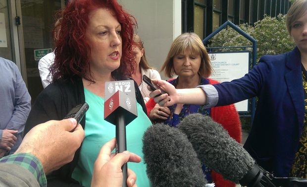 Terry Smith's former wife Michelle Smith speaks outside the High Court in Christchurch following the sentencing of his killers.