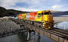 A west-bound train crosses the Waimakariri River near Arthur's Pass in July 2010.