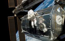 NASA astronaut Rex Walheim performs a space walk outside the International Space Station on 15 February 2008.