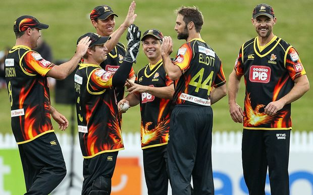 The Wellington Firebirds celebrate a wicket.