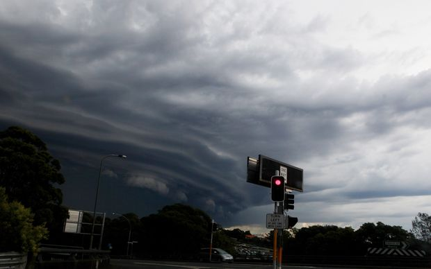 A storm moves across Sydney's northern suburbs.