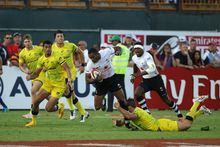 Isake Katonibau during Fiji's loss to Australia in the Cup semi final at Dubai.