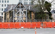 Earthquake damaged Trinity Congregational Church in Christchurch.