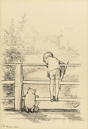 EH Shepard's ink drawing of Winnie the Pooh playing Poohsticks with Piglet and Christopher Robin.