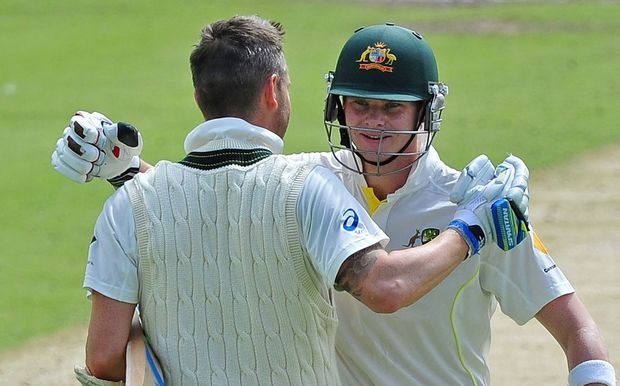 Australia's Michael Clarke and Steven Smith.