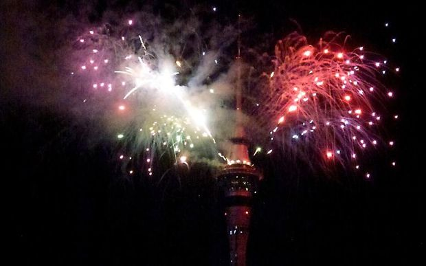 New year fireworks at the Auckland Sky Tower