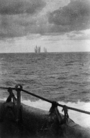 A photograph taken from the Achilles showing shells from the Graf Spee bursting on the water in 1939.