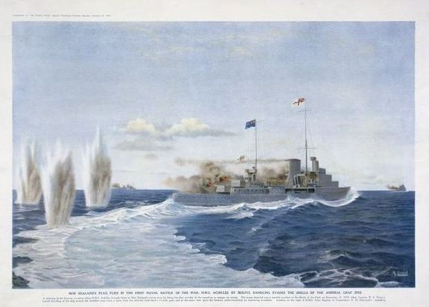 A painting by Arthur John Lloyd (b 1884) depicting the Achilles with the New Zealand flag flying during the Battle of the River Plate.