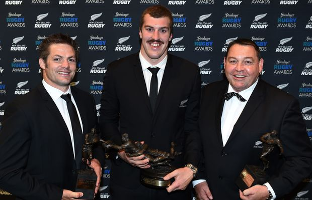 Richie McCaw, Brodie Retallick and Steve Hansen at the 2014 rugby awards.