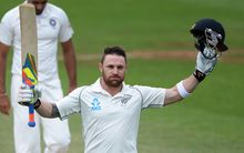 Brendon McCullum celebrating his triple century against India.
