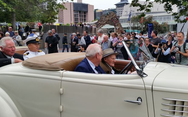 Veterans of the Battle of the River Plate were among those gathered for today's parade in Auckland.
