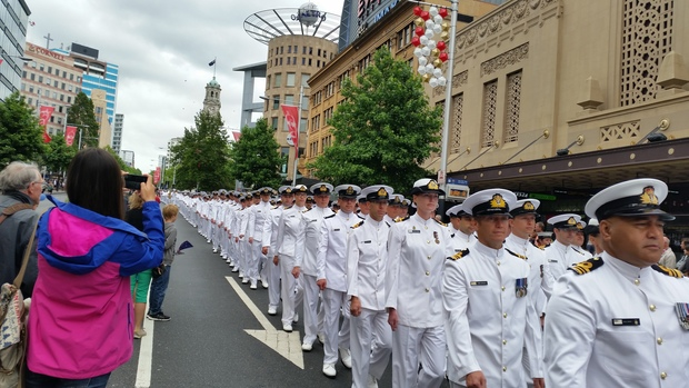 The parade re-enacts the march that took place when HMS Achilles returned victorious to Auckland in 1940.