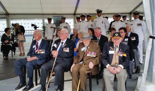 HMS Achilles veterans on board HMNZS Te Kaha, from left: John Thomson, Bob Batt, Howard Heffer and Roy Waide