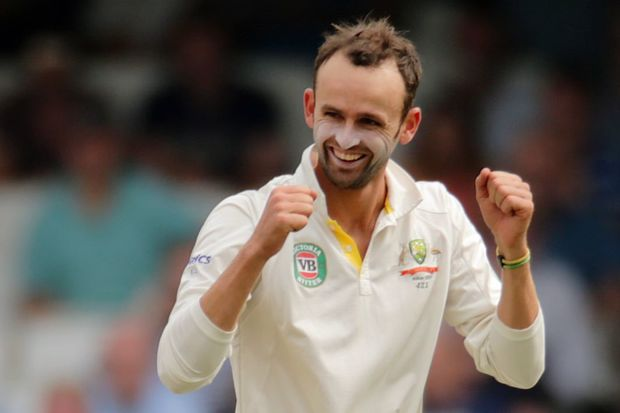 The Australian spinner Nathan Lyon celebrates a wicket.