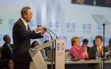 UN Secretary General Ban Ki-moon addresses participants in Lima on 10 December 2014.