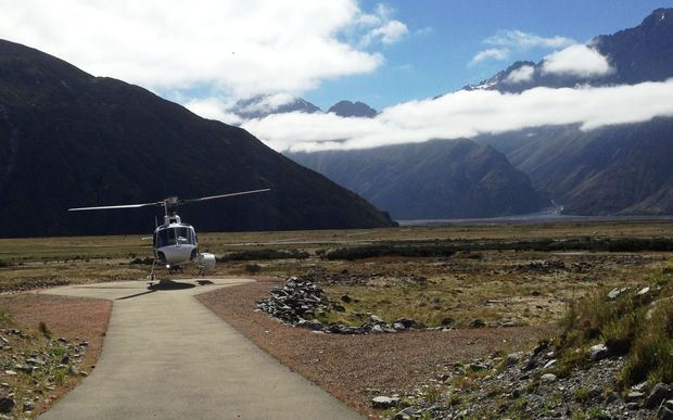 The helicopter used in the search and recovery operation on Aoraki - also known as Mt Cook.